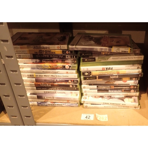 42 - Shelf of mixed Xbox 360 games. Not available for in-house P&P