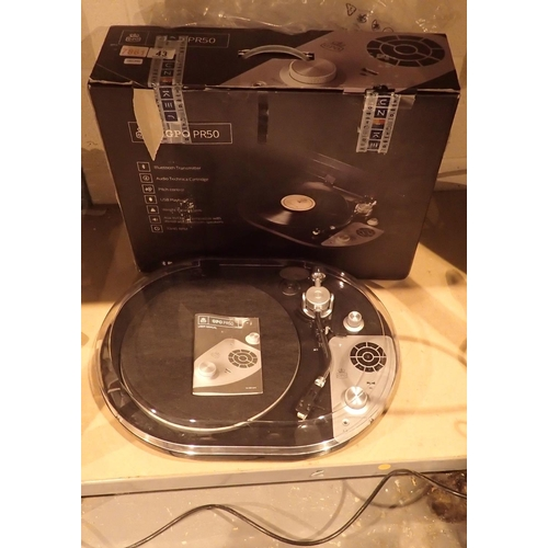 43 - GPO PR50 2 speed turntable with Audio Technica cartridge, AUX ports, bluetooth transmitter and a USB...