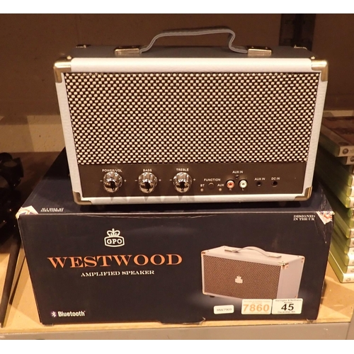 45 - GPO Westwood 25w bluetooth speaker with subwoofer, built in amplifier, boxed. Not available for in-h...