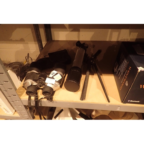 46 - Petna 220x50 and Vivitar 4x30 binoculars and a telescope on tripod. Not available for in-house P&P
