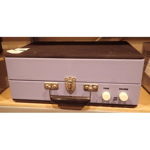 48 - Steepletone retro type cased record player. Not available for in-house P&P...