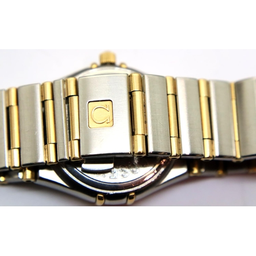 135 - Vintage Omega ladies constellation wristwatch 18ct gold and diamond bezel,18ct gold and stainless st...