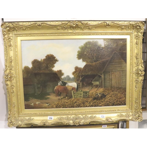 358 - JF Herring (1820-1907) gilt framed oil on canvas of Farmyard scene, stretched and cleaned, 57 x 76 c...