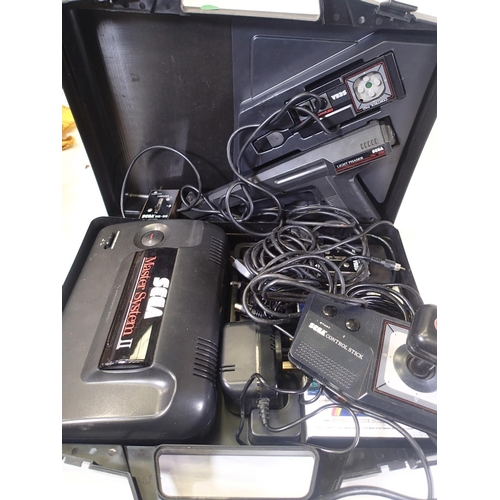 2427 - Sega Master System II, power base, control stick, light phaser, control pads, leads, transformer and...