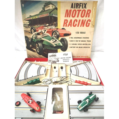 2453 - Airfix 1:32 slot car set with Cooper Car in very good condition, Ferrari with damaged wheel and exha...