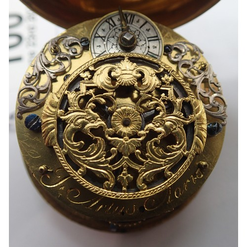100 - JEAN ARTUS, PARIS; pair cased French gilt pocket watch with enamel and brass face, enamel Roman Nume...