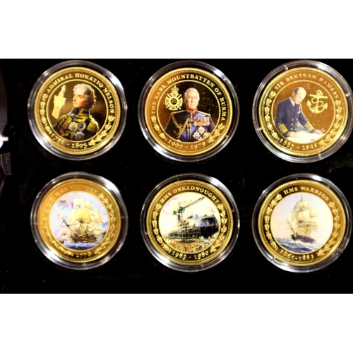 3004 - Tristan da Cuhna for The Bradford Exchange, two coin sets: The Pride of the Seas 18 coin Golden Crow...