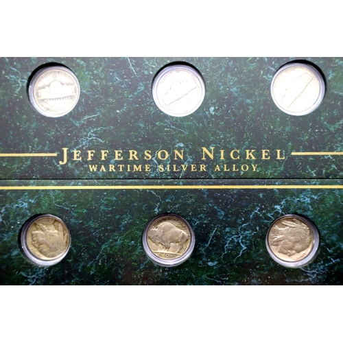 3006 - Danbury Mint, a part-filled set: Collectible Coins of America, in a large glazed display case. Not a...