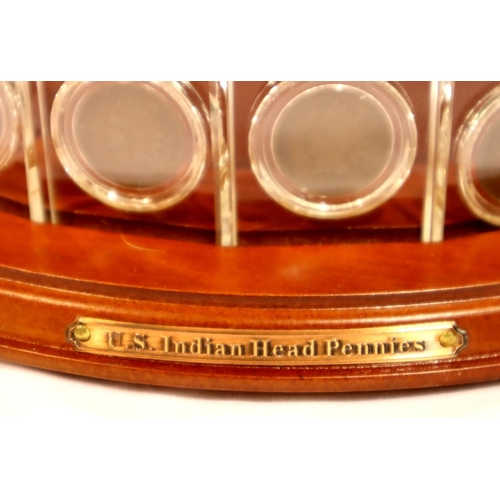 3007 - The Danbury Mint US Indian Head Pennies Crystal Collection with revolving display stand complete wit...