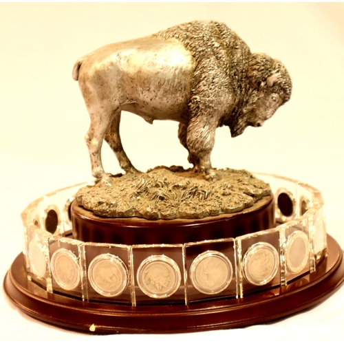 3008 - The Danbury Mint US Buffalo Nickels Crystal Collection with revolving display stand complete with tw...