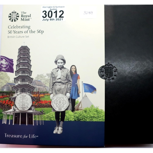3012 - The Royal Mint: Celebrating 50 Years of the 50p British Culture Set, containing five proof coins, bo...