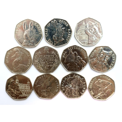 3017 - Eleven 50p of Elizabeth II, Beatrix Potter including Jemima Puddle-duck and two Paddington. P&P Grou...