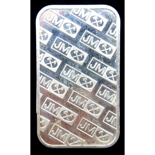3022 - Johnson Matthey one-ounce troy fine silver bullion ingot numbered B774775. P&P Group 1 (£14+VAT for ...