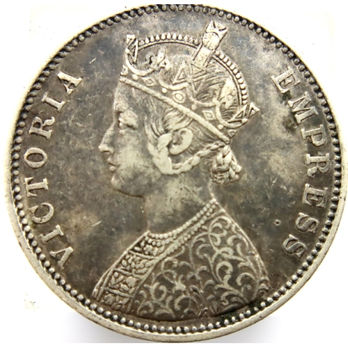 3026 - 1877 One Rupee (India) of Queen Victoria. P&P Group 1 (£14+VAT for the first lot and £1+VAT for subs...