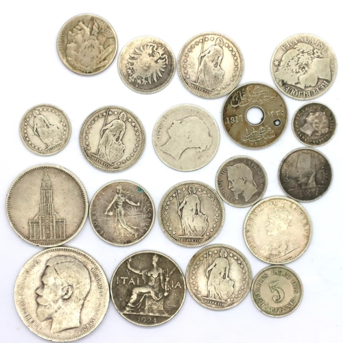 3027 - Collection of mixed silver world coins, 1898 - 1934. P&P Group 1 (£14+VAT for the first lot and £1+V...