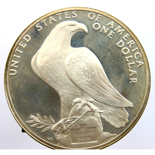 3032 - 1984 USA Los Angeles Olympics Dollar, encapsulated and boxed. P&P Group 1 (£14+VAT for the first lot...
