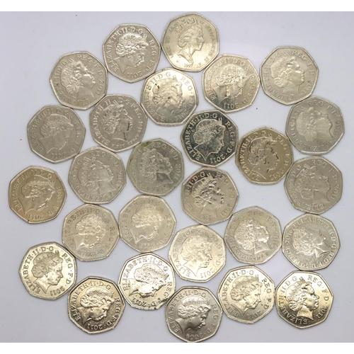 3034 - Twenty-seven 50p of Elizabeth II, mostly 2011 Olympic designs including Wrestling, Shooting and Goal...
