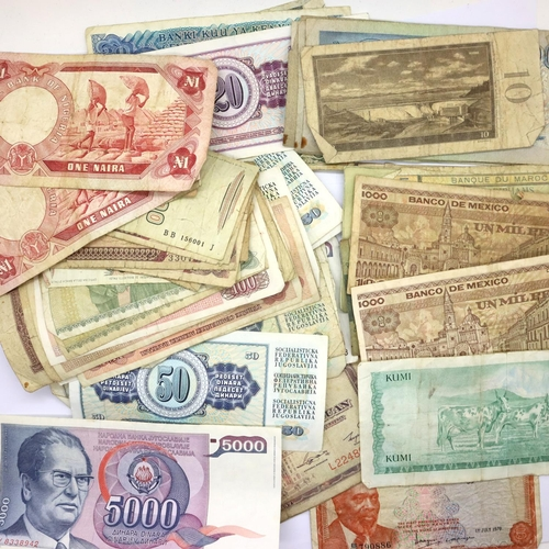 3049 - Approximately sixty mixed world banknotes. P&P Group 1 (£14+VAT for the first lot and £1+VAT for sub...
