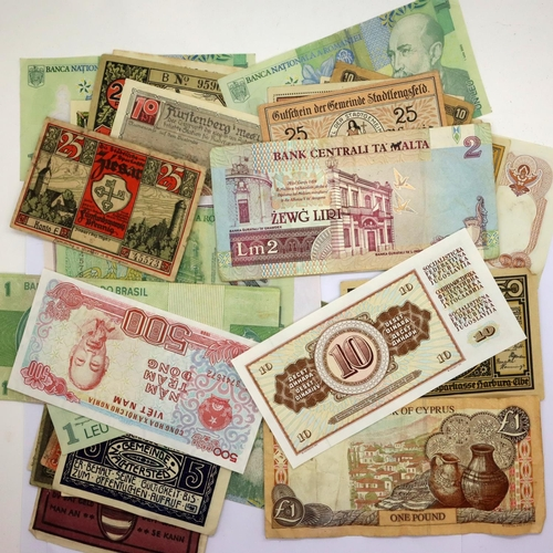 3051 - A collection of world banknotes including Brazil, Germany, Romania etc. P&P Group 1 (£14+VAT for the...
