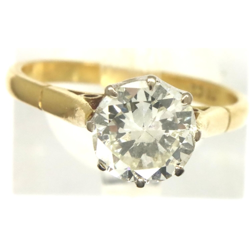 80 - 18ct gold solitaire diamond ring, diamond approximately 1.25ct (NOT 1.5  ct.) (D: 7.1 mm) size N/O, ...