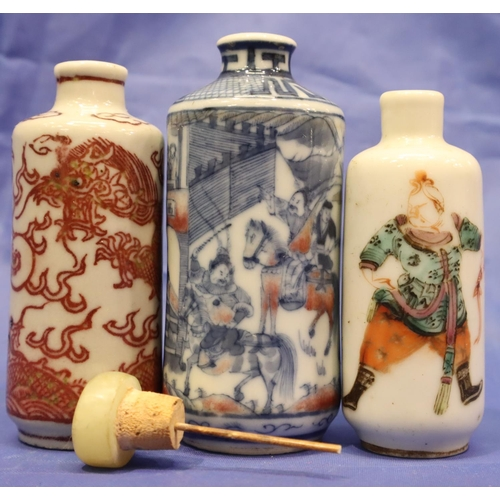 216 - Three 18th-19th century Chinese ceramic snuff bottles, each of cylindrical form. The shortest with f...