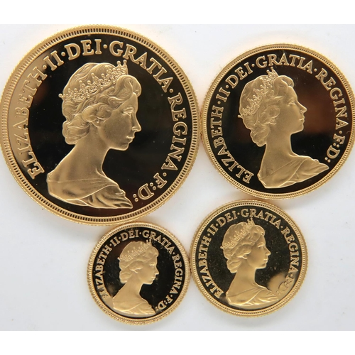 3200 - 1980 boxed UK four coin gold proof set of Elizabeth II, with CoA. P&P Group 1 (£14+VAT for the first...