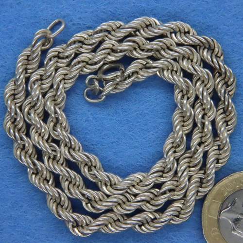 13 - 925 silver rope neck chain, L: 41 cm. P&P Group 1 (£14+VAT for the first lot and £1+VAT for subseque...