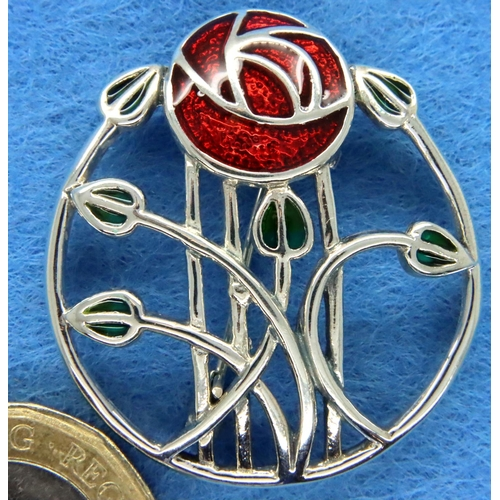 19 - 925 silver Charles Rennie Mackintosh brooch, D: 30 mm. P&P Group 1 (£14+VAT for the first lot and £1...