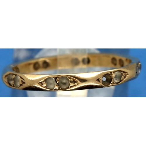 28 - 9ct gold stone set ring size Q/R, 1.9g. One stone missing. P&P Group 1 (£14+VAT for the first lot an...
