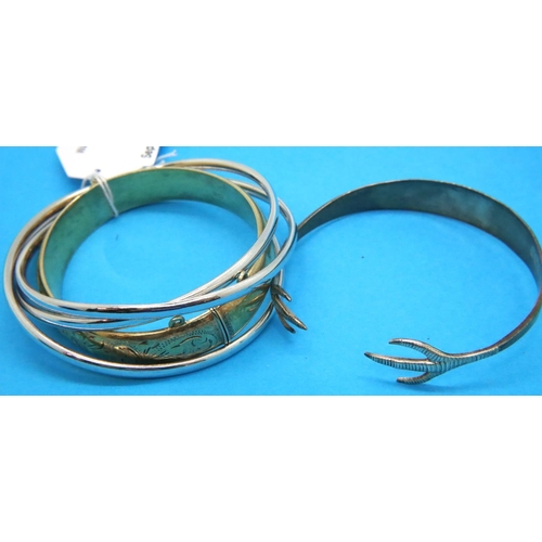 33 - Five silver bangles, four stamped 925 and a hallmarked silver example, combined 55g. P&P Group 1 (£1...