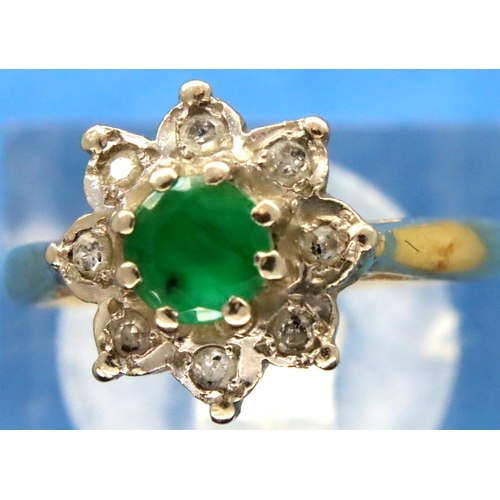 47 - 18ct yellow gold diamond and emerald dress ring, size J, 3.3g. P&P Group 1 (£14+VAT for the first lo...