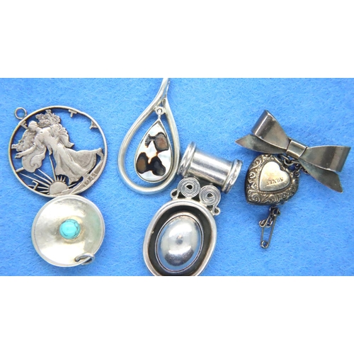 49 - Five 925 silver pendants, largest L: 40 mm, combined 50g. P&P Group 1 (£14+VAT for the first lot and...