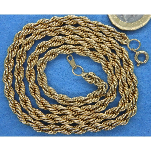 59 - 18ct gold plated rope chain necklace, L: 62 cm, 39.0g. P&P Group 1 (£14+VAT for the first lot and £1...