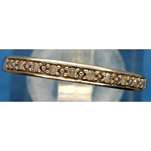 8 - 9ct gold diamond set ring, size P/Q, 1.7g. P&P Group 1 (£14+VAT for the first lot and £1+VAT for sub...