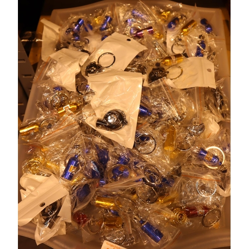 1027 - A tray lot of novelty key rings. Not available for in-house P&P, contact Paul O'Hea at Mailboxes on ...