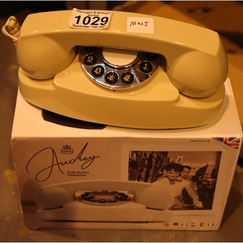 1029 - Ivory GPO Audrey push button telephone is compatible with modern telephone banking and any standard ...