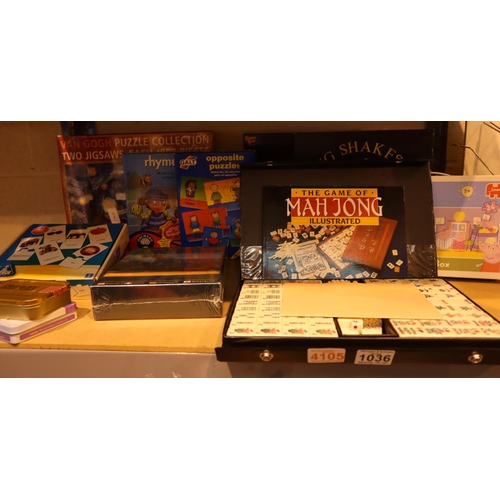 1036 - Collection of mixed games including a boxed Mahjong set. Not available for in-house P&P, contact Pau...