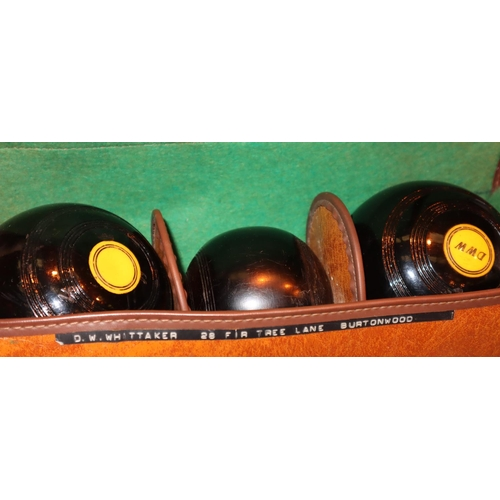 1051 - Cased set of bowls with jack. Not available for in-house P&P, contact Paul O'Hea at Mailboxes on 019...