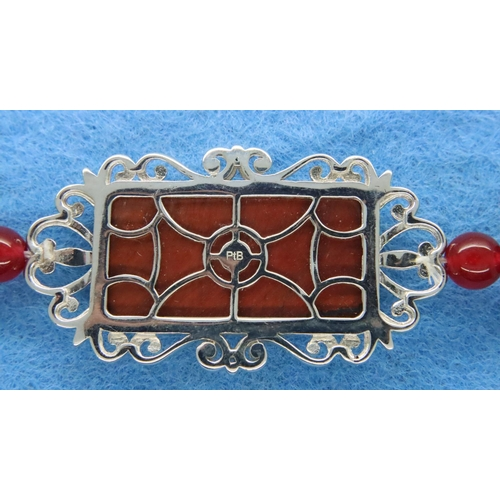 10 - 925 silver and red jade type bracelet, L: 19 cm. P&P Group 1 (£14+VAT for the first lot and £1+VAT f...