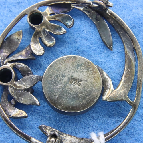 25 - 925 silver Art Nouveau style brooch, D: 3.5 cm. P&P Group 1 (£14+VAT for the first lot and £1+VAT fo...