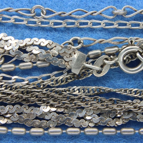 27 - Six mixed 925 silver chains, largest L: 60 cm, combined 33g. P&P Group 1 (£14+VAT for the first lot ...