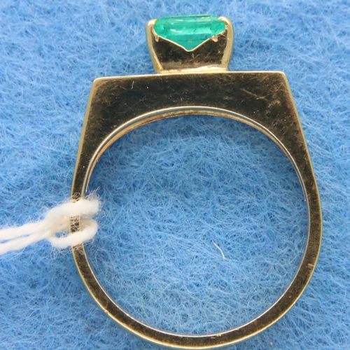 31 - 14ct gold emerald set ring size O/P, no hallmarks (tested as 14K) 4.9g. P&P Group 1 (£14+VAT for the...