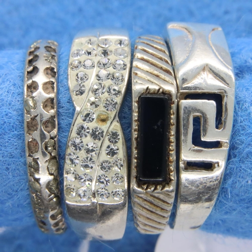 35 - Four sterling silver stone set rings, mixed sizes. P&P Group 1 (£14+VAT for the first lot and £1+VAT...
