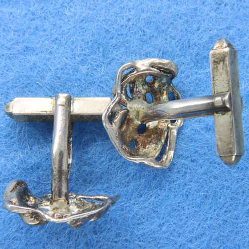 45 - Pair of white metal cufflinks with theatrical masks. P&P Group 1 (£14+VAT for the first lot and £1+V...