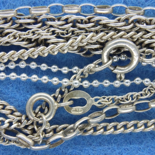 55 - Six mixed 925 silver chains, longest L: 64 cm, combined 34g. P&P Group 1 (£14+VAT for the first lot ...