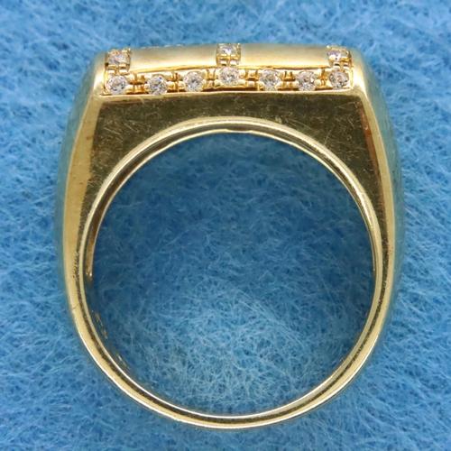 7 - Contemporary heavy gauge 14ct gold diamond set half eternity ring, size O/P, 9.5g. P&P Group 1 (£14+...
