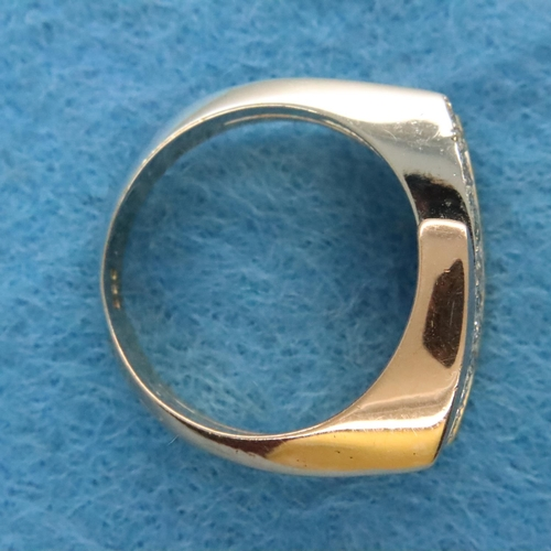 9 - 14ct gold tri-coloured diamond set dress ring, size O/P, 8.1g. P&P Group 1 (£14+VAT for the first lo...