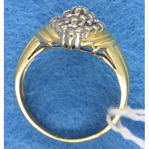 58 - 18ct gold diamond set cluster dress ring, 0.5cts total, size Q/R, 6.6g. P&P Group 1 (£14+VAT for the...