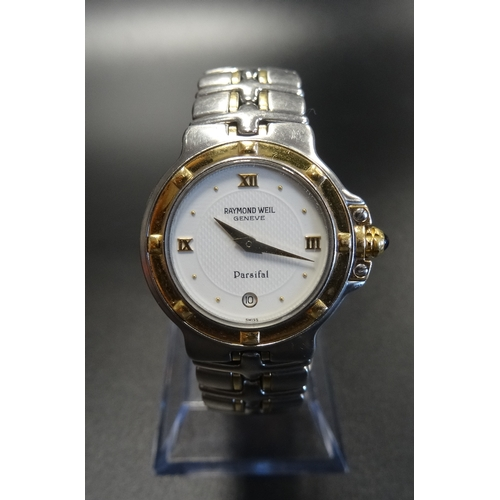 38 - LADIES RAYMOND WEIL PARSIFAL STAINLESS STEEL AND GOLD PLATED WRISTWATCH the dial with Roman numerals...