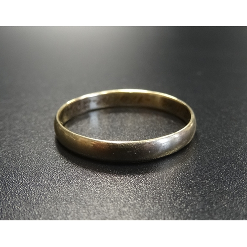 42 - FOURTEEN CARAT GOLD WEDDING BAND ring size U-V and approximately 2 grams...